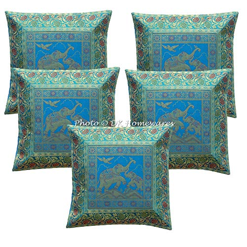DK Homewares Indio 16x16 Bordado Turquesa Funda De Almohada Jacquard Brocado Floral Decoración del Dormitorio Elefante Cuadrado Fundas De Cojines (40 x 40 cm ; Turquesa) -Conjunto de 5 Piezas
