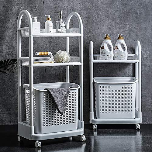 Hossejoy Storage Trolley Cart, 3-Tier Rolling Organiser Cart, Utility Plastic Cart Shelf Rack with Laundry Storage Basket, Perfect for Kitchen Bathroom Office Kids' Laundry Room