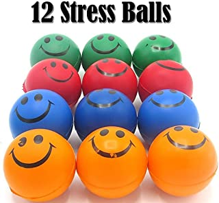 Dazzling Toys Smile Face Squeezable Stress Balls 12 Pack - Neon Colored Tension Relief Activity Balls Set of 12- Pressure Relieving Health Balls - Therapeutic Relaxing Smile Squeeze Ball