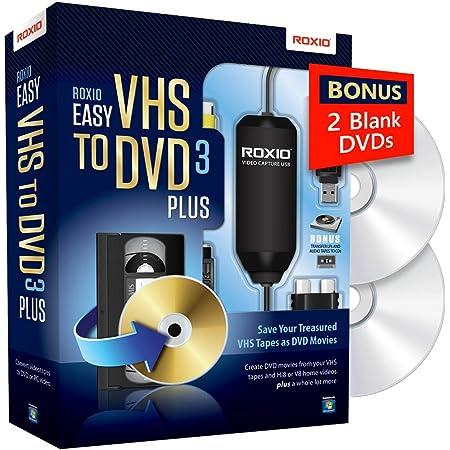 Roxio Easy VHS to DVD 3 Plus | VHS, Hi8, V8 Video to DVD or Digital Converter | Amazon Exclusive 2 Bonus DVDs [Windows]