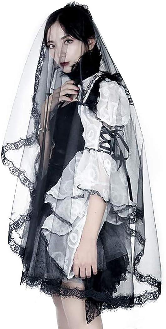 Barode Bride Wedding Veil Black Halloween Decoration Long Flower Applique Edge Fingertip Length Lace Bridal Hair Accessories for Women