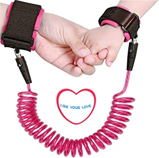 Baby Anti Lost Wrist Link 2.5m Toddlers Safety Harness Leash Child Tether 98 inch Hook Loop Band Kids Straps Rope for Children Babies with Parents by Elekmall (2.5m, Pink1)