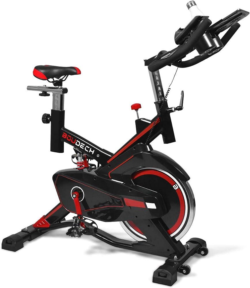 boudech cyclette bici da spinning display lcd software di monitoraggio e supporto tablet bold 1600