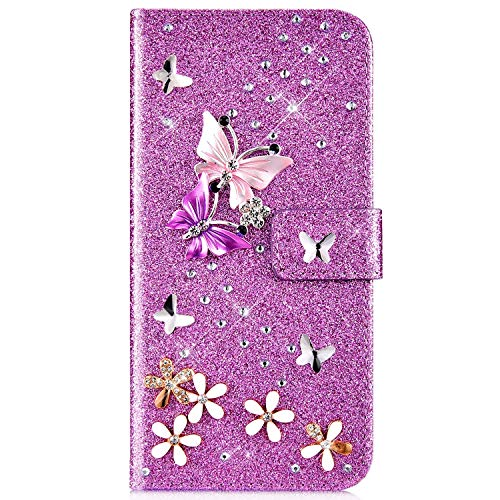 IKASEFU Compatible with Samsung Galaxy Note 9 Case Glitter Shiny butterfly Rhinestone Floral Pu Leather Diamond Flash Bling Wallet Strap Case with Card Holder Magnetic stand Flip Cover Case,Purple