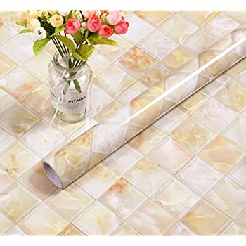 Amazon Com Bestery Redodeco Backsplash Tiles Self Adhesive Marble Gloss Vinyl Film Kitchen Counter Paper Peel Stick Wallpaper Decal 15 8inx79in Roll Home Kitchen