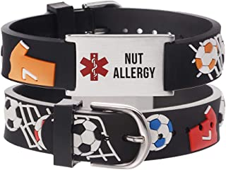 LinnaLove Cartoon Medical Alert id Bracelets Parents Gift to Son, Daughter, Brother, Sister, 6.5 inches, Metal,
