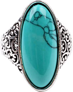 Women's Fashion Cubic Zircon Synthetic-Turquoise Ring