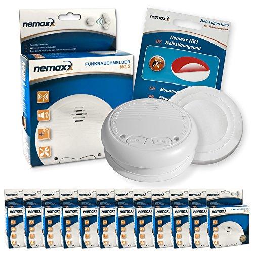 12x Nemaxx WL2 Funkrauchmelder Rauchmelder Brandmelder Set Funk koppelbar vernetzt - nach EN 14604 + 12x Nemaxx NX1 Quickfix Befestigungspad