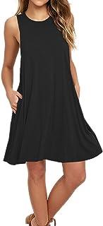 AUSELILY Women's Casual Plain Simple T-Shirt Pockets Loose Dress