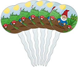 GRAPHICS & MORE Garden Gnome with Toadstools Cupcake Picks Toppers Decoration Set of 6