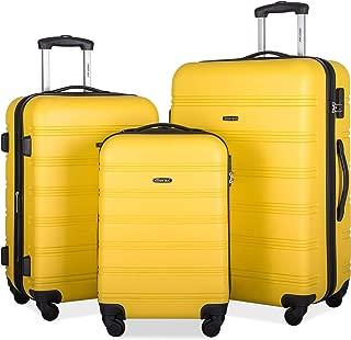 3 Pcs Luggage Set Expandable Hardside Lightweight Spinner Suitcase with TSA Lock [Upgraded Version] (yellow2019)