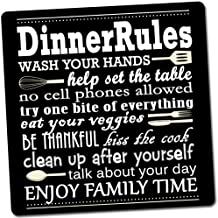 exciting Lives Magnetised Rubber Dinner Rules Fridge Magnet (Black)