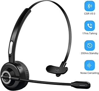 Bluetooth Headphones with Microphone, Wireless Bluetooth Headset on Ear, Noise Canceling PC Headset with Crystal Clear Sound for Cell Phones Tablet Home Office Skype, Truck Drive, Call Center