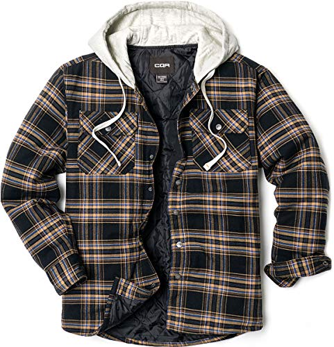 CQR Chaqueta de franela con capucha para hombre, acolchada, con forro Hok720 1pack - Black & Brown XXX-Large