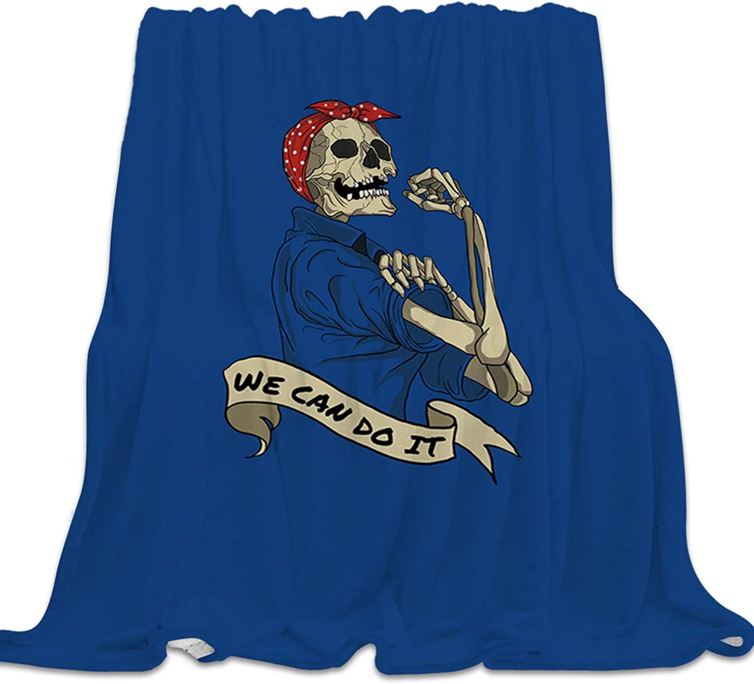 YEHO Art Gallery Flannel Fleece Bed Blanket Super Soft Cozy Throw-Blankets for Kids Girls Boys,Lightweight Blankets for Bed Sofa Couch Chair Day Nap,Funny Skull Head Girl bluee Pattern,39x49inch