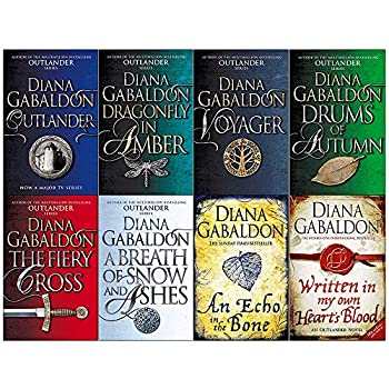 Paperback Diana Gabaldon Outlander Series 8 Books Collection Set (Outlander,Dragonfly in Amber,Voyager,Drums of Autumn,Fiery Cross,Breath of Snow and Ashes,An Echo in the Bone,Written in My Own Hearts Blood) Book