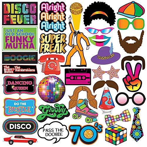 Sterling James Co. 70er Jahre Disco-Party Fotokabine Partyrequisiten - 40 Stück - Lustiges 70er Jahre Disco Partyzubehör, Artikel und Dekorationen
