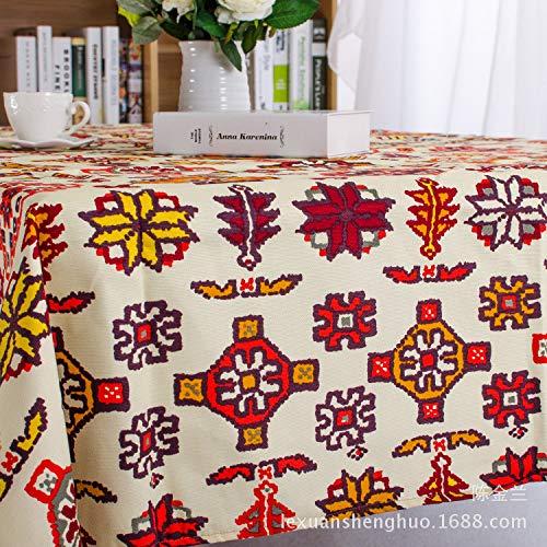 ShiyueNB Zuidoost-Aziatische exotisch katoenen tafelkleed etnische kunst salontafelkleden koffiekoetafelkleed 140 * 220 Q