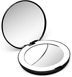 Fancii Compact Magnifying Mirror with Natural LED Lights, Daylight LED, Portable, Handheld 102mm Wide Illuminated Mirror for Purses (Lumi Mini) (1X/10X Magnification) (Black)