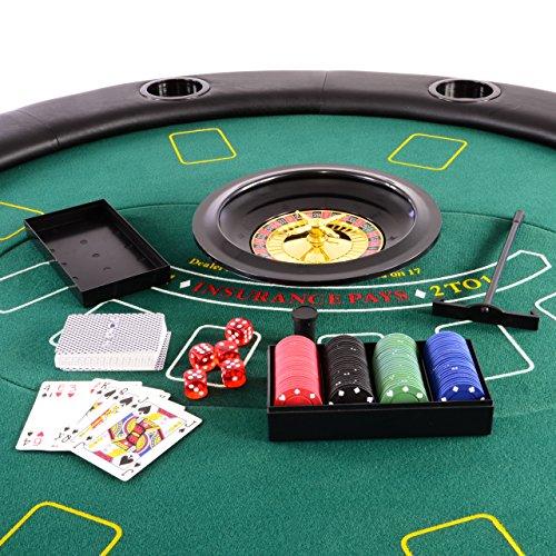 Nexos Profi Casino Pokertisch klappbar Rund Ø 120 cm; 4 in 1 Spiele: Poker, Roulette, Black Jack, Craps inkl. Karten, 100 Chips und Zubehör - 7