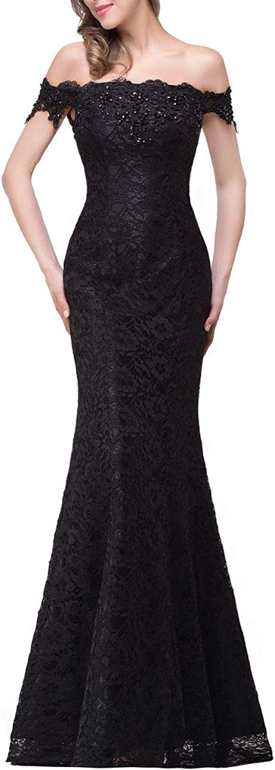 Aishanglina Aline Off The Shoulder Lace Party Dress Prom Gown with Laceup Back