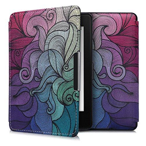 kwmobile Custodia Compatibile con Amazon Kindle Paperwhite - Cover Pelle Sintetica con Chiusura Magnetica - eReader Flip Case Fucsia Blu Verde