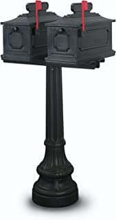 United Visual Products Montgomery Double Residential Mailbox & Post, Black