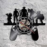 ARLT レトロなゲームビニールレコードの壁掛け時計ゲームルームゲームコントローラの壁アート装飾的なビンテージ壁掛け時計ポップゲームギフト (Color : NO LED)