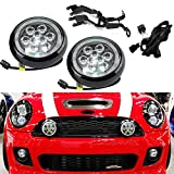 NSLUMO - Juego de 2 luces LED de circulación diurna para conducción, con anillo de halo y ojos de ángel, carcasa negra, para Mini Cooper