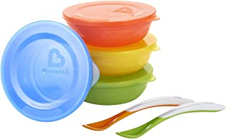 美国 Munchkin 满趣健 儿童餐具套装 爱儿碗 宝宝带盖辅食碗4只+软头勺2只 MK43867