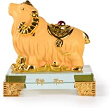 PopTop Brass Golden Resin Feng Shui Statue Chinese Zodiac Sheep/Goat/Lamb Home Office Table Top Decor Figurine Gift Collection PTZY107