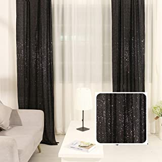 TRLYC 2FTX8FT Christmas Black Sequin Curtain Panel for Father'Day Wedding Party