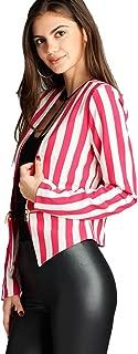 Women`s Collarless Open Front Stripe Blazer, Classic Formal Jacket W Zipper.