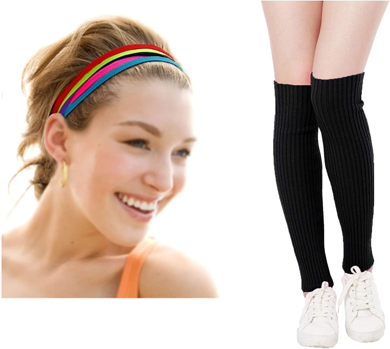Kimberly's Knit Women's Cute Colorful Hair band Rope Ties and 80s Leg Warmers for Party