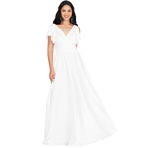 981c9a7e5feb KOH KOH Womens Long V-Neck Ruffle Sleeveless Bridesmaid Prom Gown Maxi Dress
