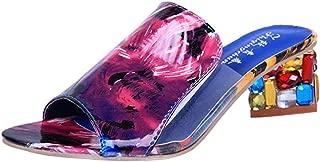 Zanpa Women Fashion Summer Shoes Block Heels Mules Sandals