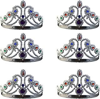 NUOBESTY Glod Party Queen Crown Plastic King Crown Antique Royal Medieval Crown Banquet Prop for Carnival Cosplay Party Favor Gifts 6pcs