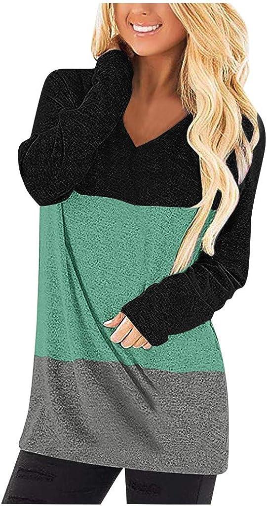 POTO Womens Pullover Color Block Shirts Tops Long Sleeve Sweatshirt V Neck Tee Shirts Casual Tops Blouse