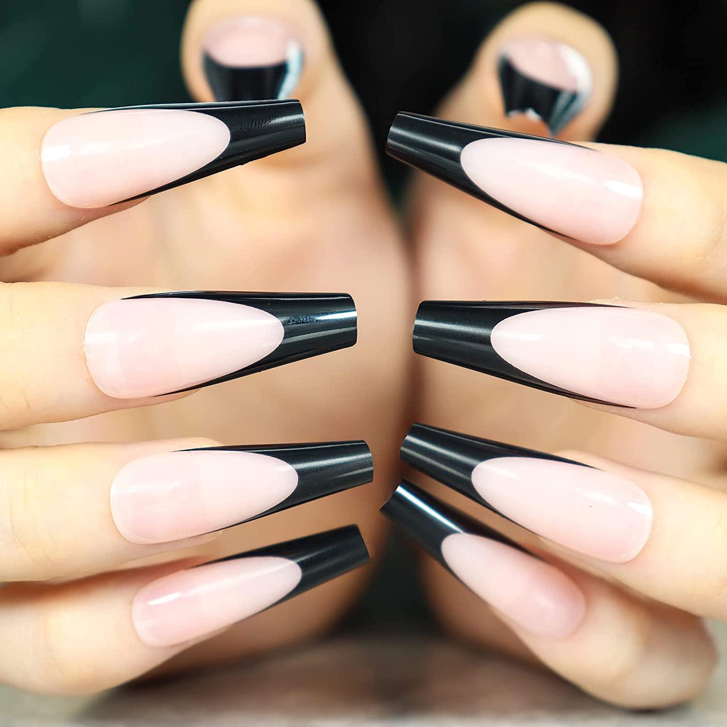 Long French Press on New color Nails Glossy Full Nude Co 55% OFF Coffin Fake