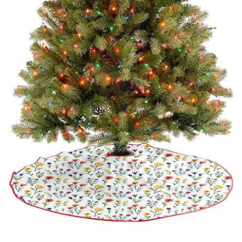 Adorise Moderna falda de árbol de la costa de la isla del océano con palmas, ilustración de viaje cielo y violeta azul olivo, decoración de fiesta de Navidad para decoraciones de vacaciones – 122 cm