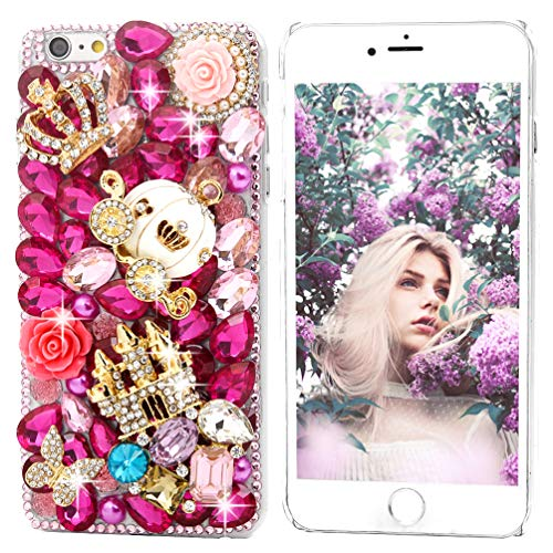 Phone case Compatible with iPhone 7, iPhone 8, Mavis's Diary Full Edge 3D Handmade Luxury Bling Crytal Fashion Design Shiny Gem Pearl Rhinestone Diamond Clear Hard Cover (Crown Castle)