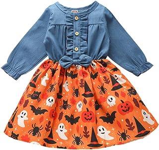 SUPEYA Toddler Baby Girls Denim Floral Swing Skirt One-Peice Ruffle Dress