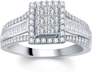 5a23fc080 DiamondMuse 10K Gold 1.00 Carat Princess, Round and Baguette Diamond  Engagement Ring (I-J,