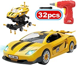 PBOX Take Apart Race Cars Toys,Build Your Own Toy Car with Lights and Sound & Drill Tool,DIY Kids Toys for 4-5 Year Old Boys & Girls