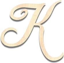 Back40Life - Precision Cut Wood Brush Calligraphy Script Monogram Letter - K Medium