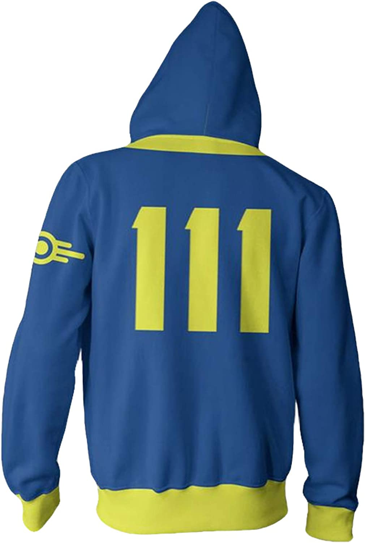 Hot Game Role Cosplay Hoodie Blue Zip Up Hooded Jacket Coat Halloween Costume