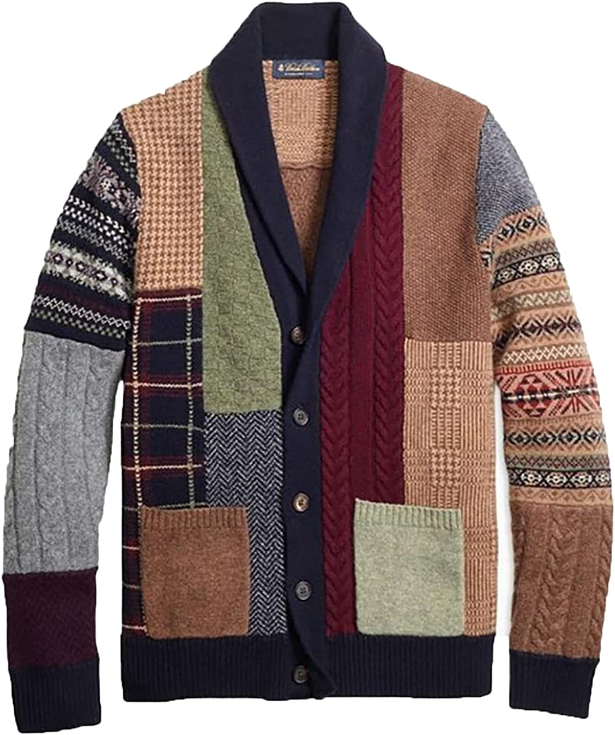 Mens Vintage Long Sleeve Single-Breasted Button Pocket Knitted Cardigan Sweater