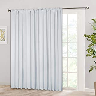 RYB HOME Room Darkening Insulated Curtain, Rod Pocket & Back Tab Top, Heavy Duty Solid Backdrop Curtains for Patio Door Large Window Closet, 100 W x 84 L, Greyish White