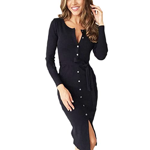 6ac1fa86a72 Mansy Women s Casual Long Sleeve Button Front Dress