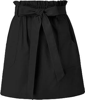 KANCY KOLE کمر بلند و گاه به گاه زنانه یک خط دامن کاغذی کمر الاستیک دامن کوتاه با جیب S-XXL